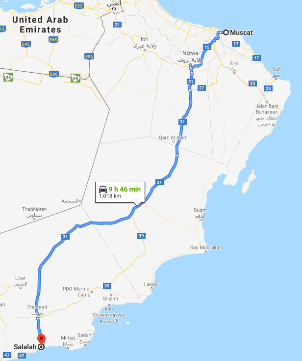 google maps itinerary from muscat to salalah