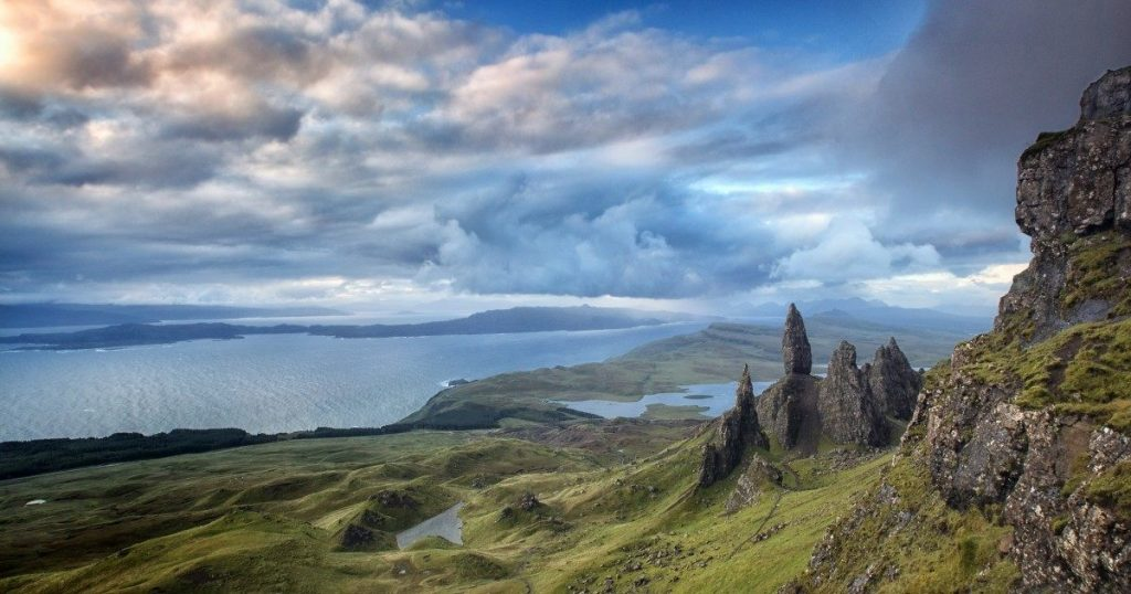 The Old Man of Storr is the tallest rock standing on the picture. Picture from Atlas Obscura