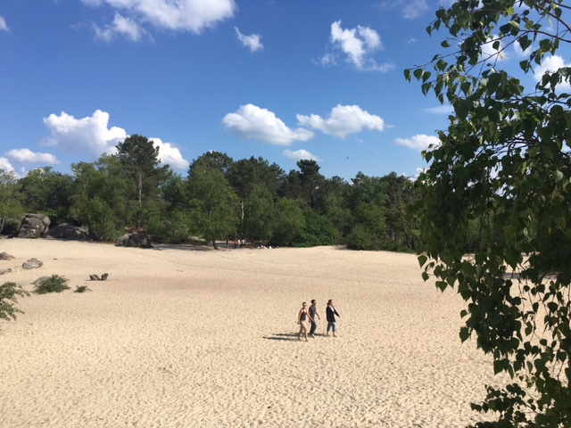 three persons walking in a sandpit in fontainebleau