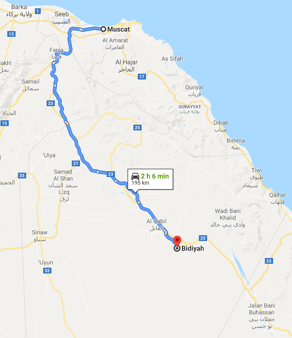 google maps itinerary from muscat to bidiyah