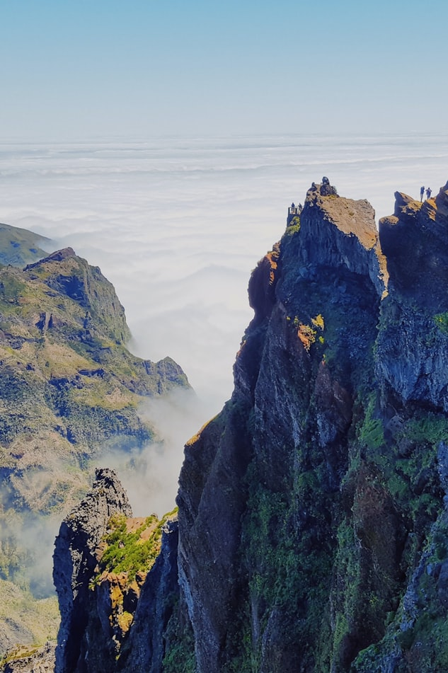 aerial photography of a summit in madeira