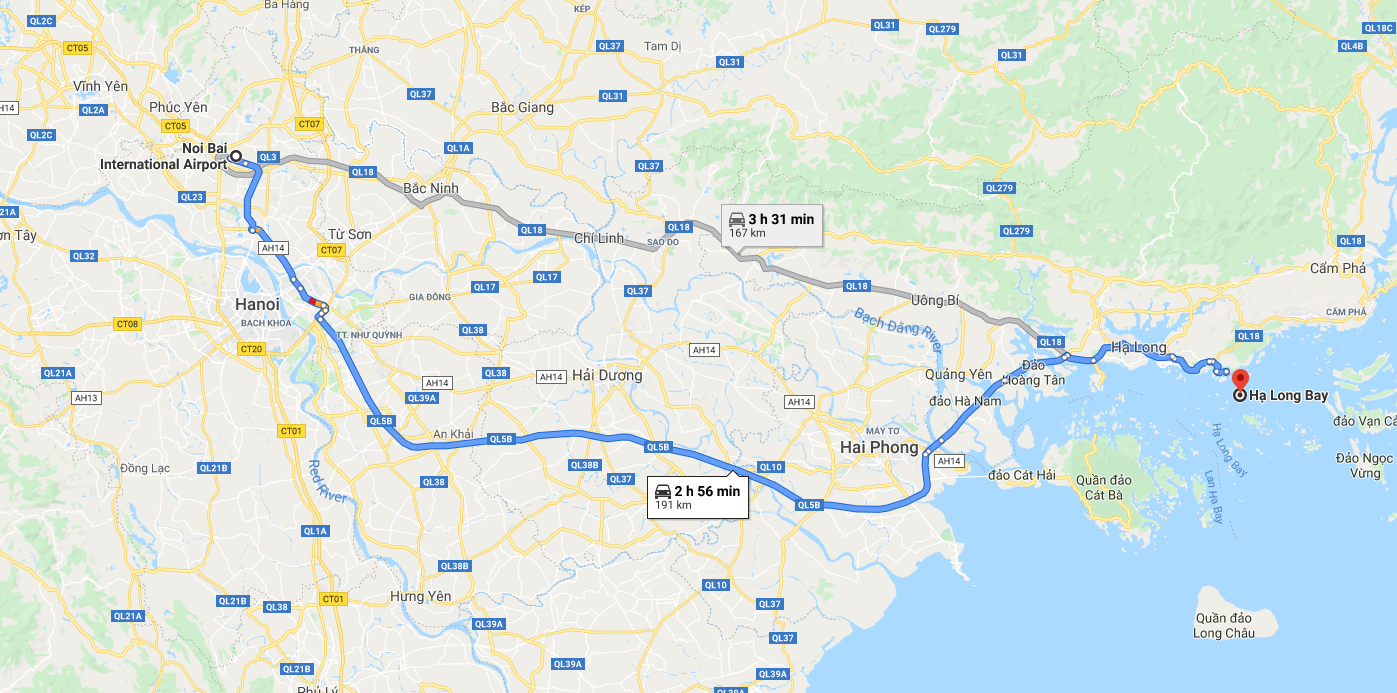 itinerary from hanoi airport to halong bay