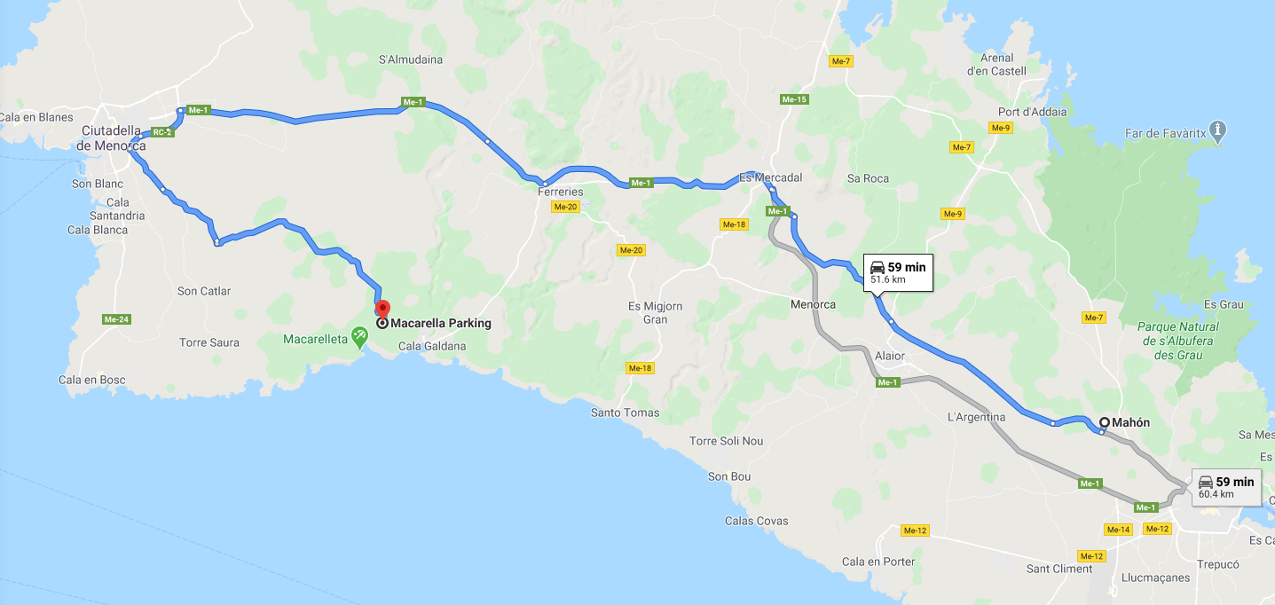 itinerary from mahon to macarella parking