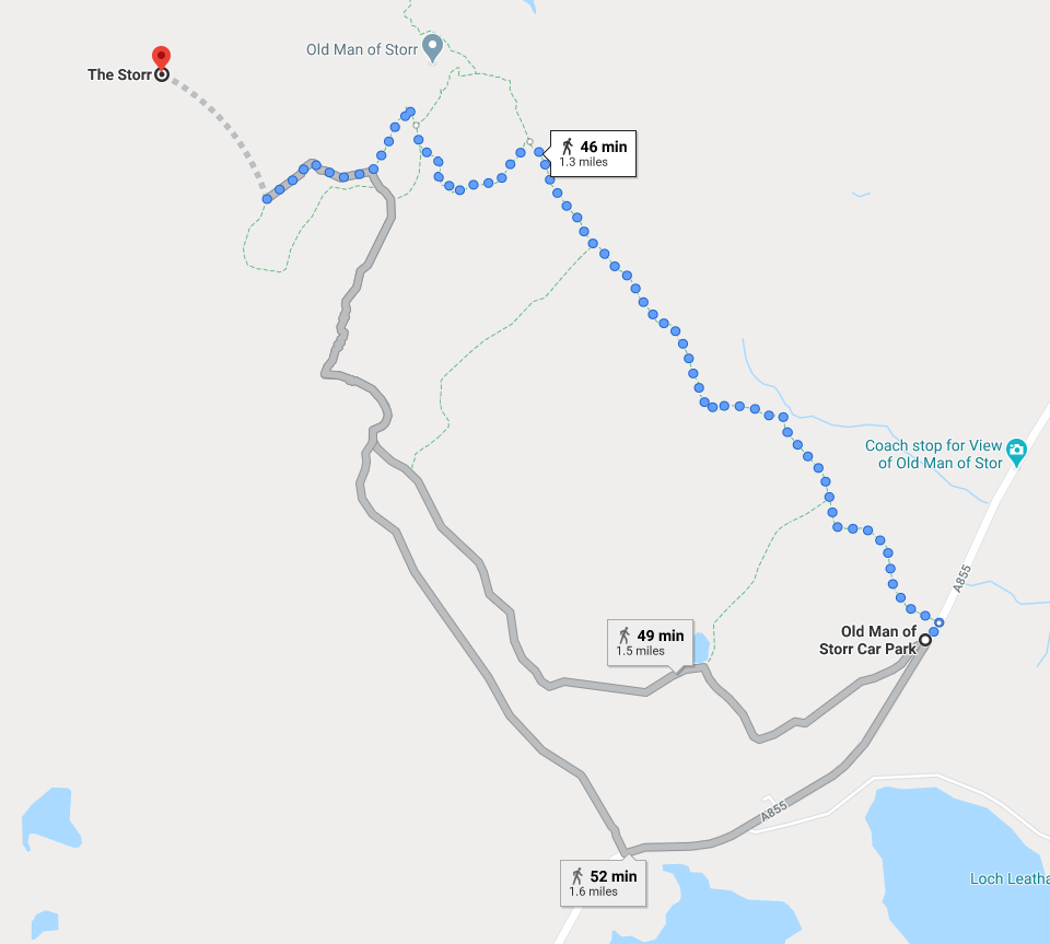 itinerary from old man of storr car park to the storr