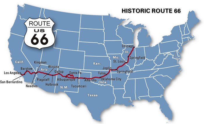map showing the cities route 66 encounters