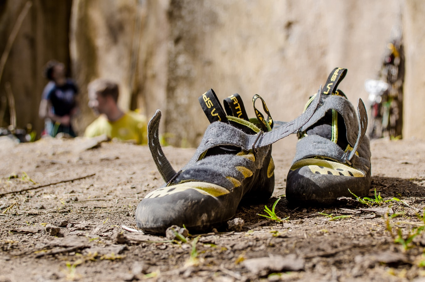 open climbing shoes on the grass