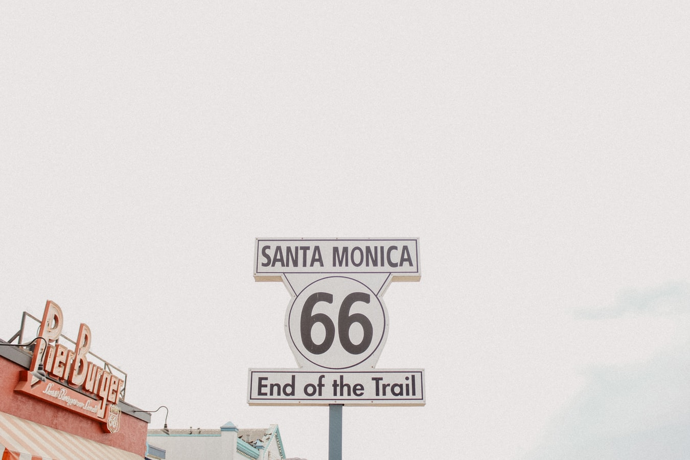 sign at the end of route 66 in santa monica