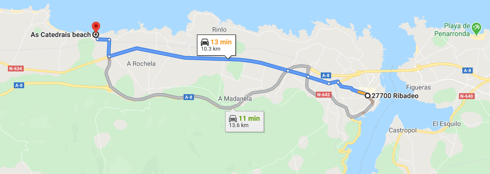 itinerary from ribadeo to cathedral beach screenshot