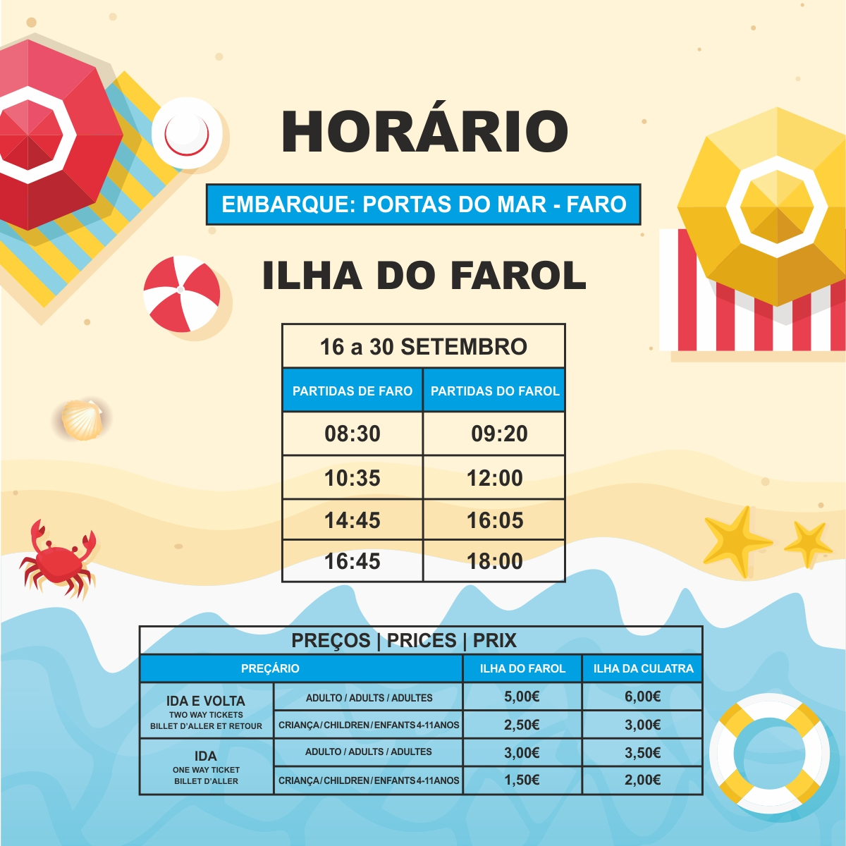ferry timetable between faro and ilha do farol