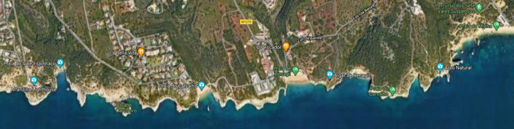 satellite view of the algarve coast for a hike