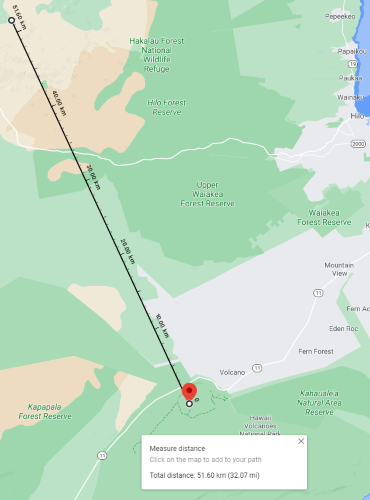 distance between kilauea and mauna kea
