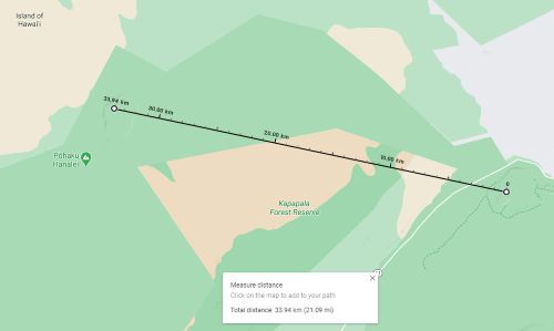 distance between kilauea and mauna loa