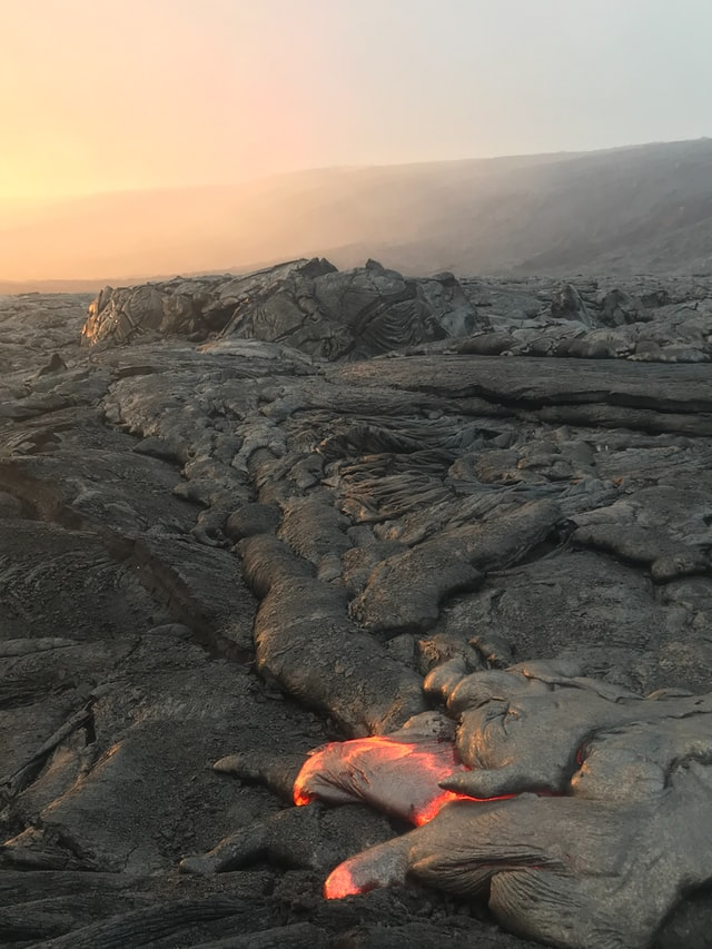 lava flowing near active volcano kilauea