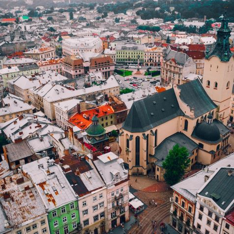 birds eye view city in cheap ukraine