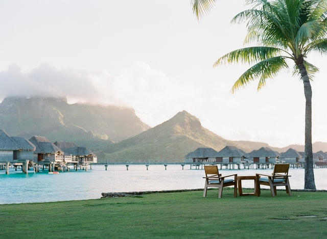 chairs next to a palmtree in famous bora bora