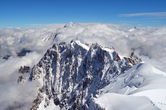 aerial photography of mountain hikes in europe